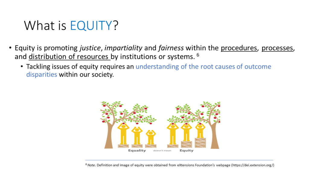 What is Equity? Equity is promoting justice, impartiality and fairness within the procedures, processes, and distribution of resources by institutions or systems. Tackling issues of equity requires an understanding of the root causes of outcome disparities within our society.