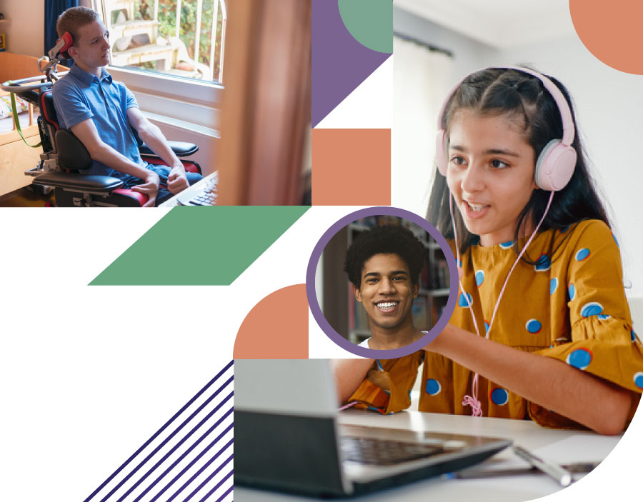 data - collage of young man with cerebral palsy, young man smiling and young girl on the computer