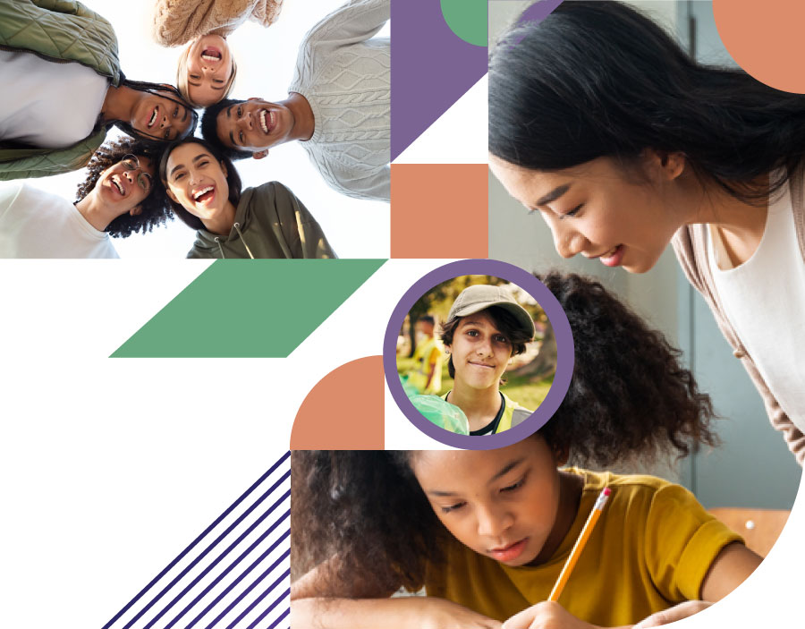 effective practices - collage of teens siling, educator helping pre teens and a teen volunteering